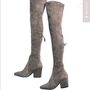 Carina taupe over the knee suede leather boots